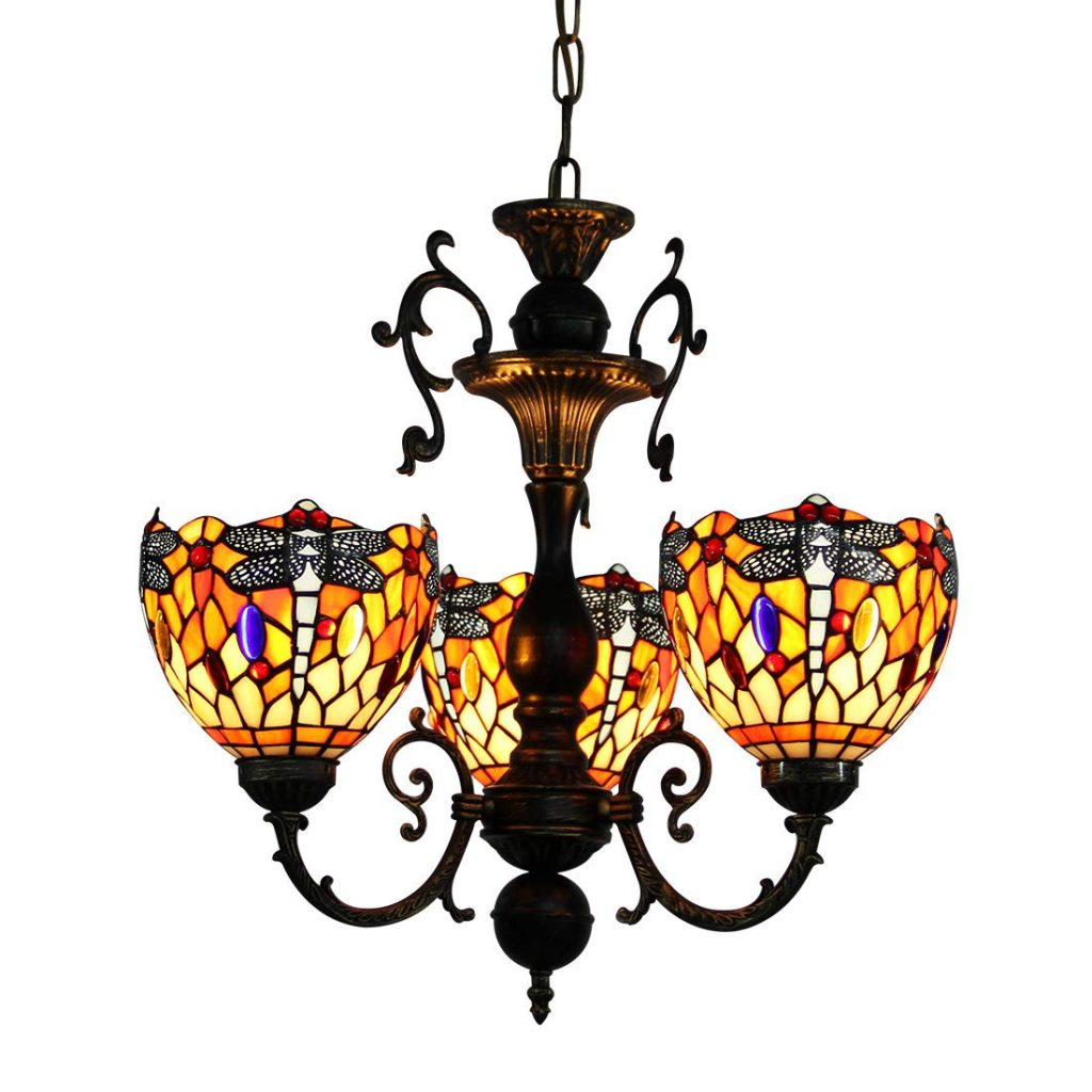 akenier Vintage Classic Art Tiffany Style Stained Glass Chandelier