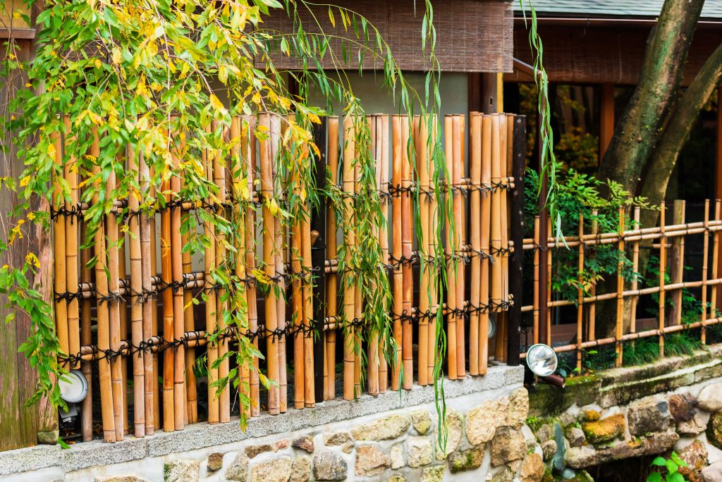 View of the bamboo fence in Kyoto, Japan.