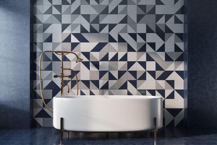 Mosaic bathroom, white tub
