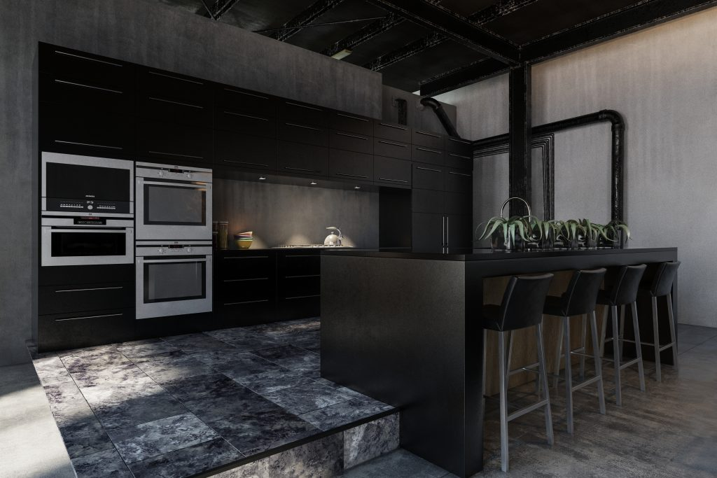 Hipster black modern fitted kitchen