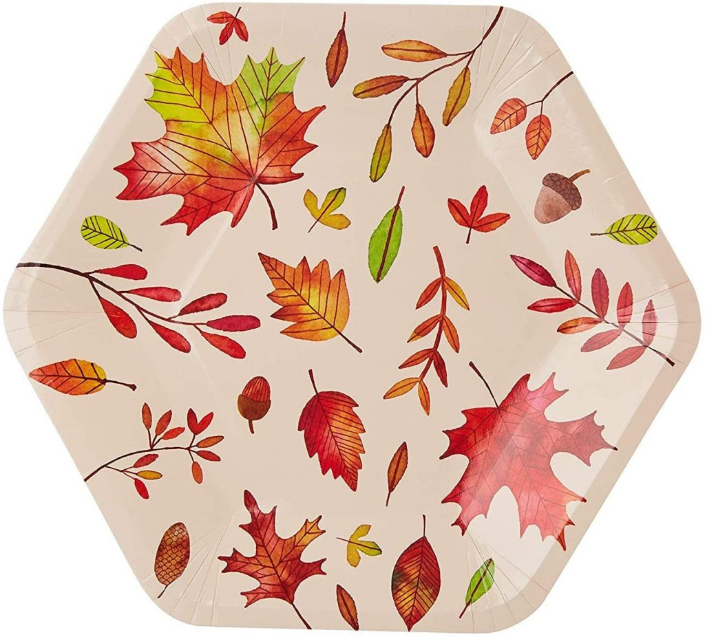 hexagon shaped thanksgiving plate