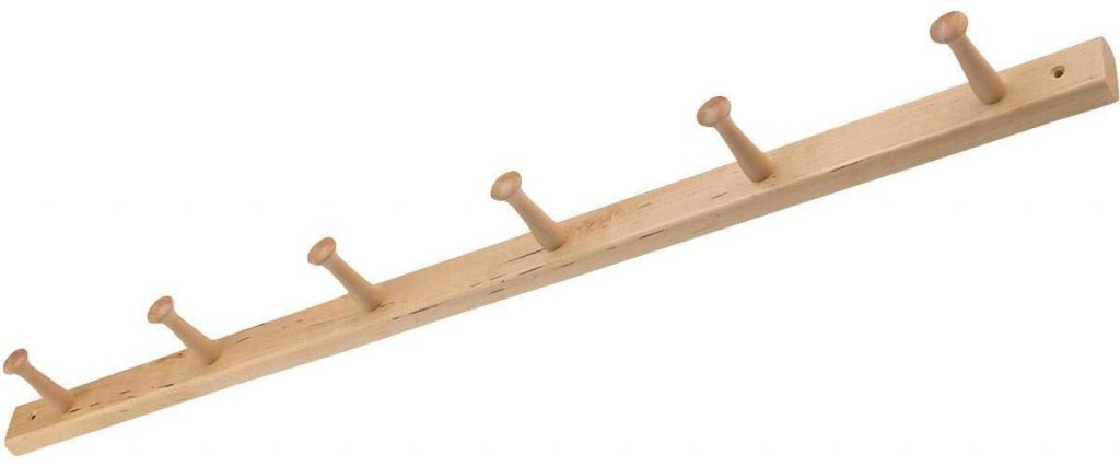 iDesign Wood Wall Mount 6-Peg Coat Rack
