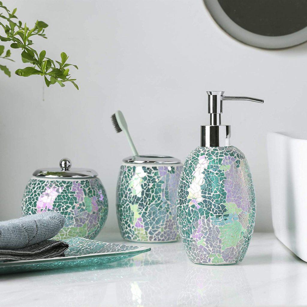 Mosaic Glass Bathroom Accessory Set
