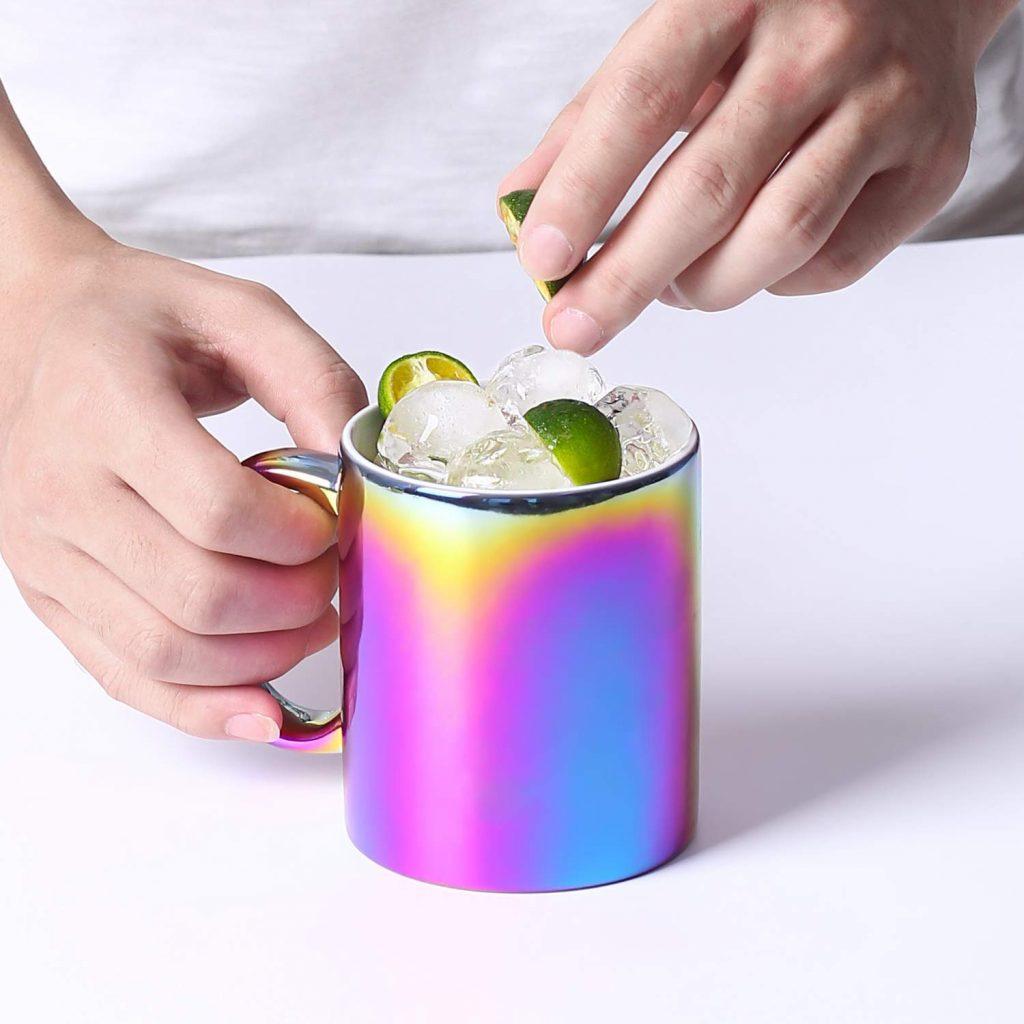 Iridescent Titanium-Plated Porcelain Mug
