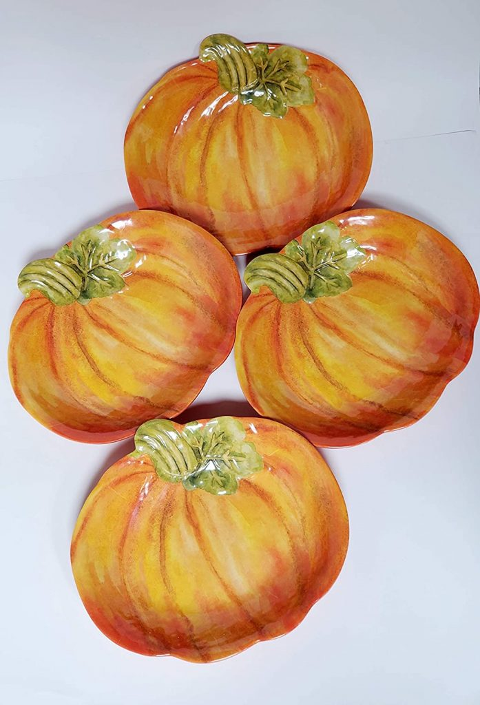 pumpkin shaped thanksgiving plates