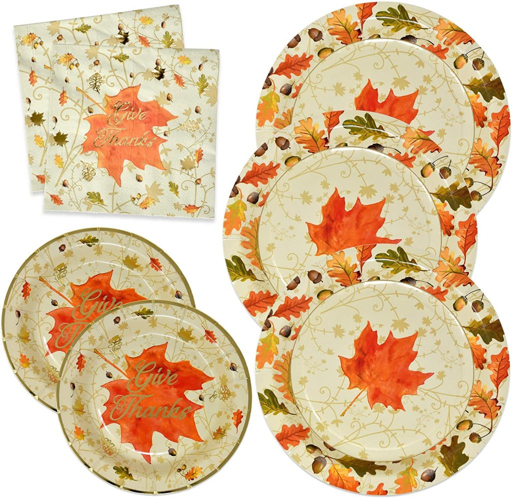 thanksgiving paper plate set with napkins