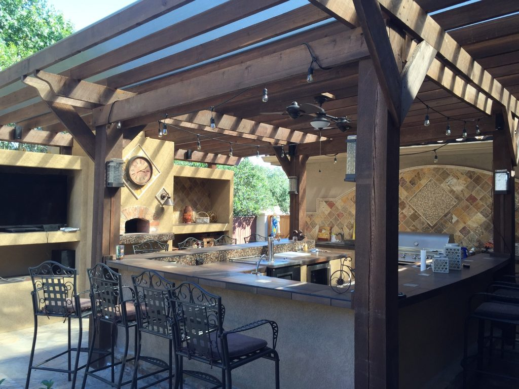 wooden outdoor pergola