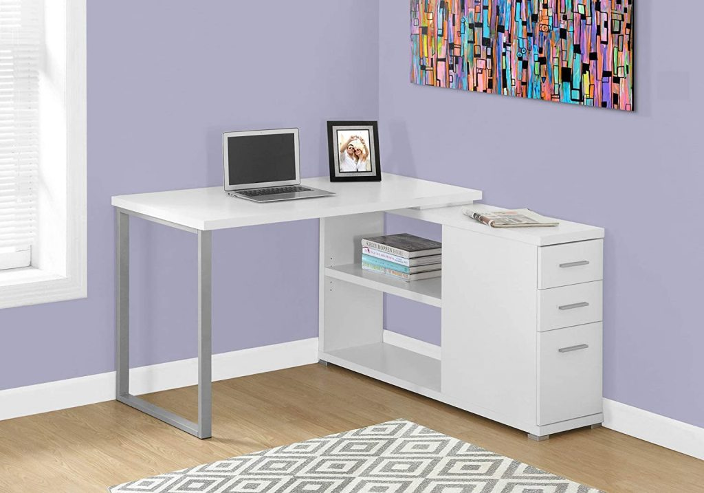 Corner Desk with Open Shelves and Drawers