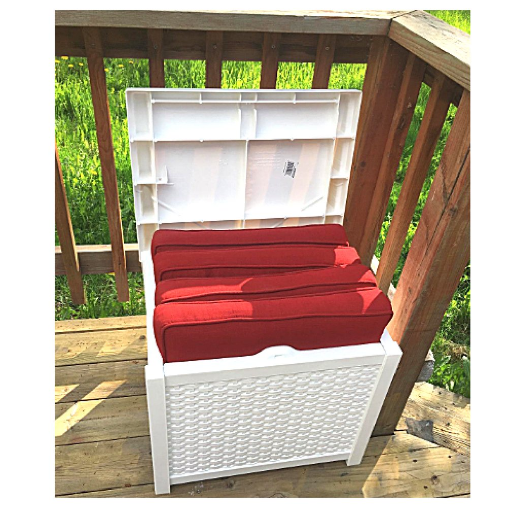 20 Gallon Deck Box Patio Wicker Storage White