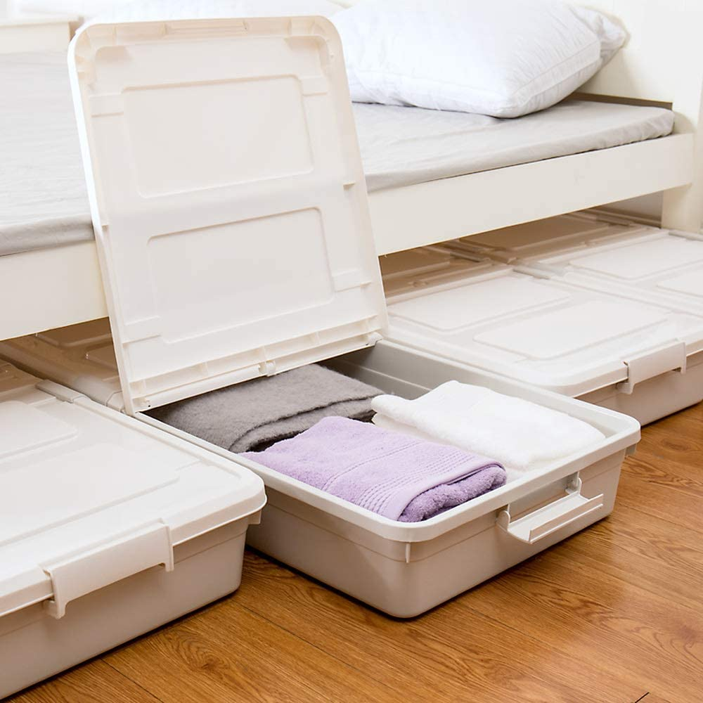 3 Pack Large Rolling Under Bed Storage Bin With Wheels