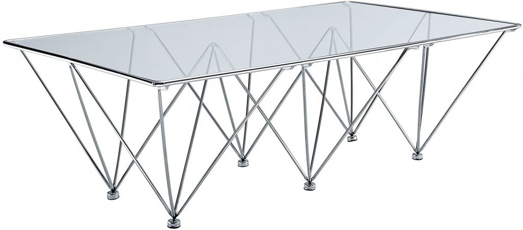 Modway Prism Modern Tempered Glass Rectangular Coffee Table