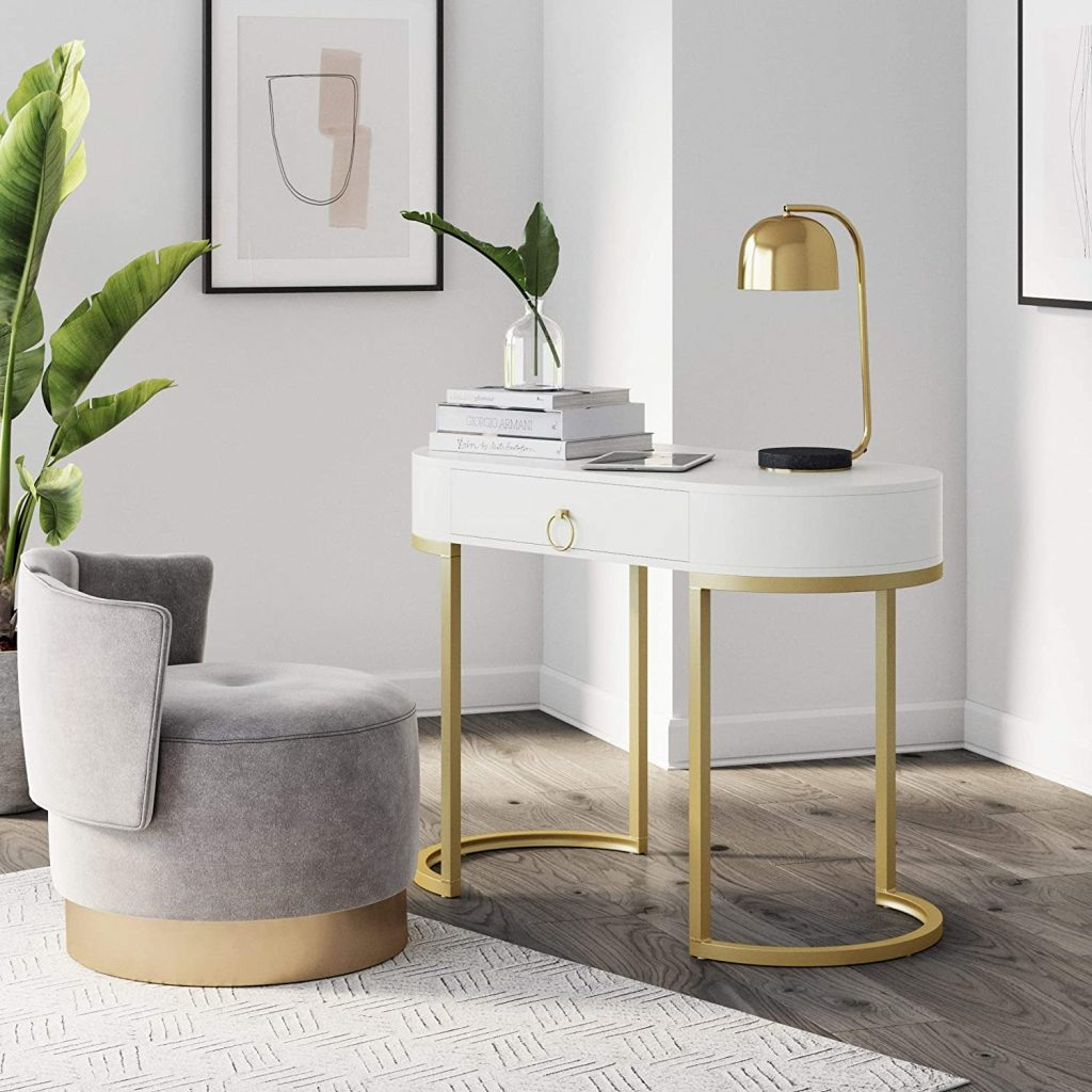 Nathan James Leighton Small Oval Glam Brass Accents