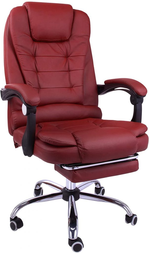 Halter Reclining Leather Office Chair - Modern Executive Adjustable Rolling Swivel Chair