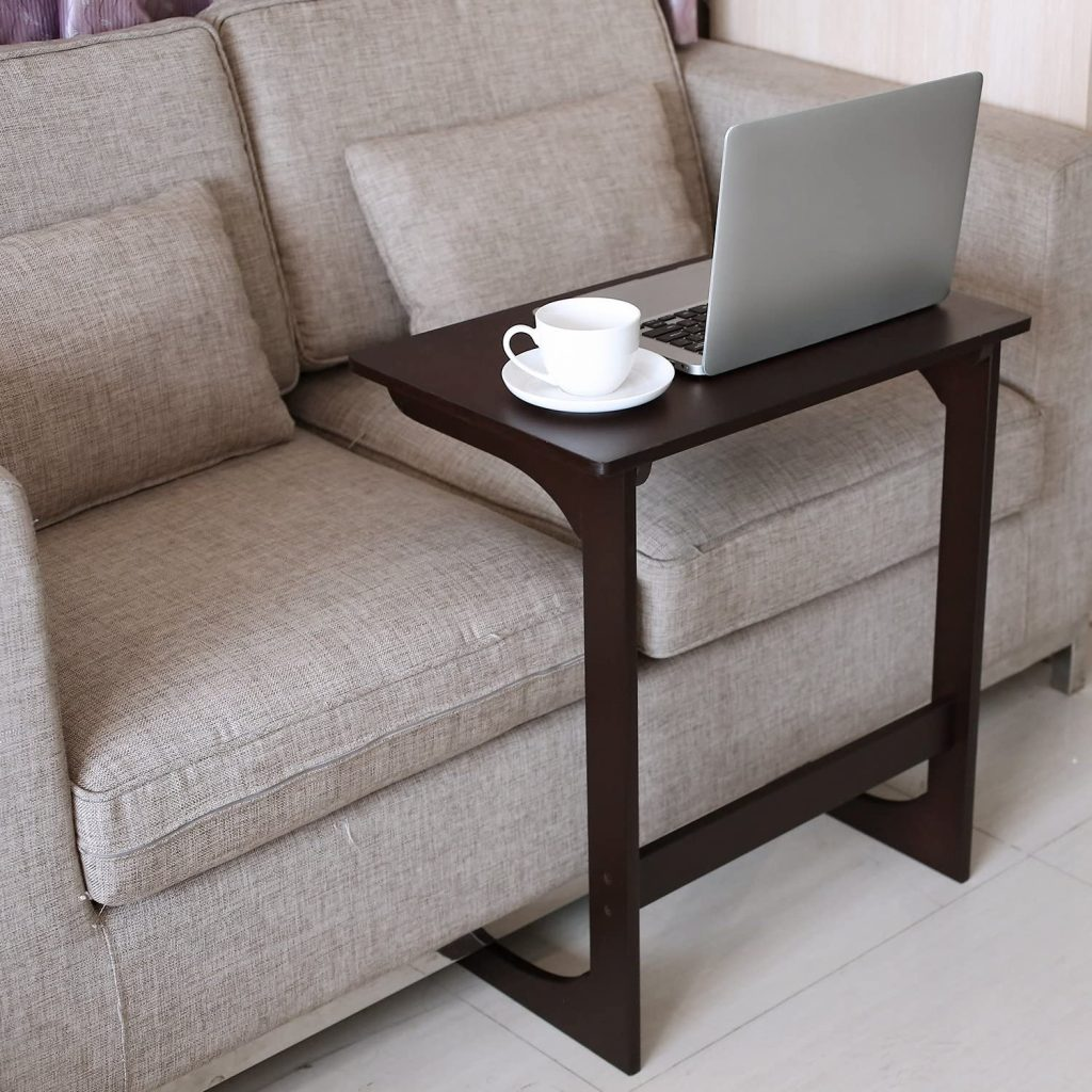 HOMFA Bamboo Snack Table Sofa Couch Coffee End Table