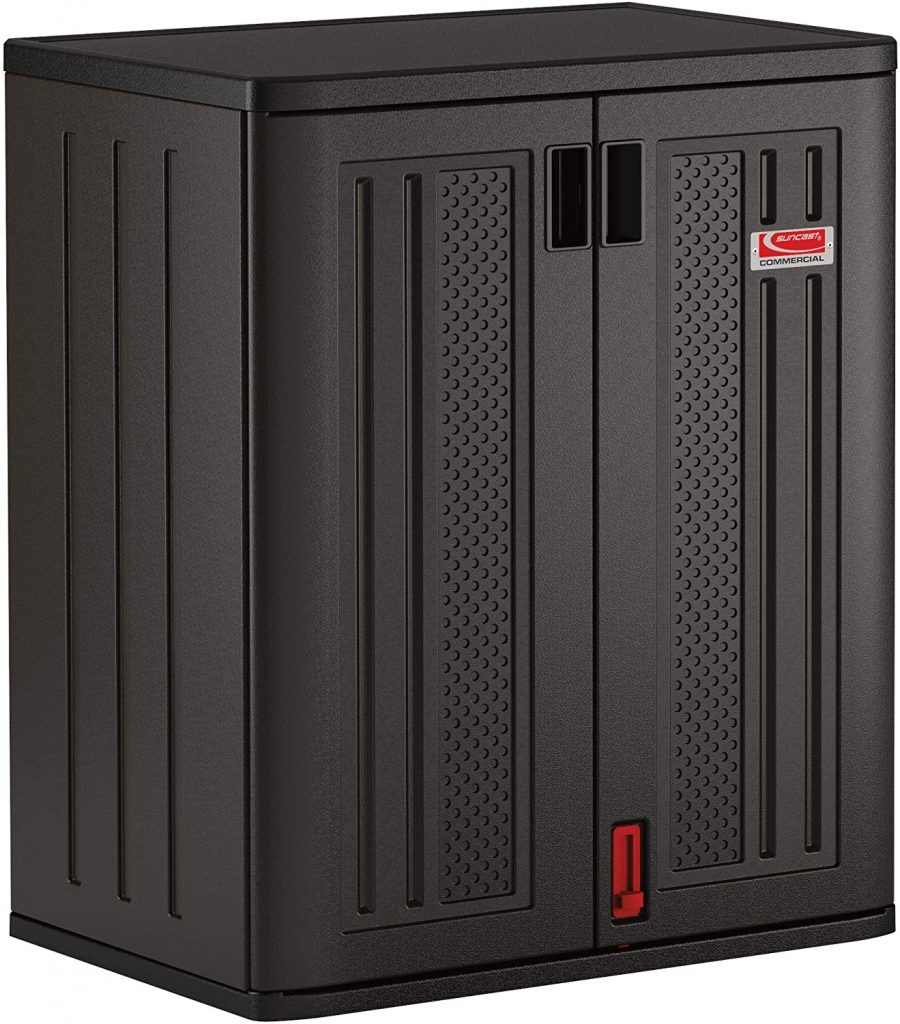Black Blow Molded Tall 2 Shelf Storage Shed Cabinet