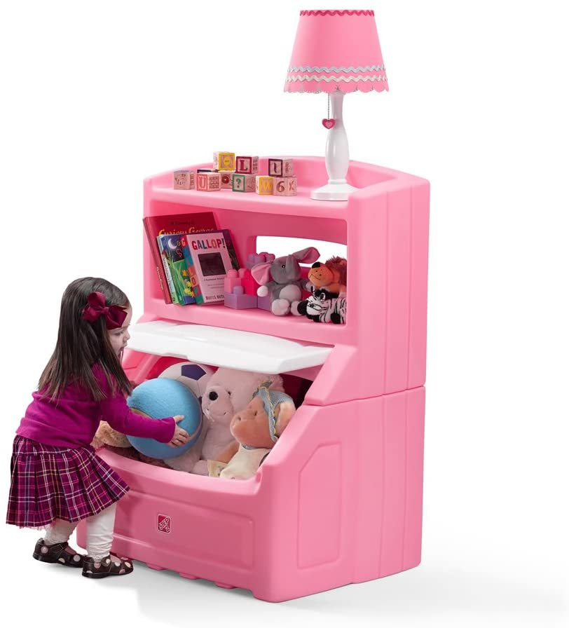 Lift and Hide Bookcase Toy Box Storage Chest for Kids