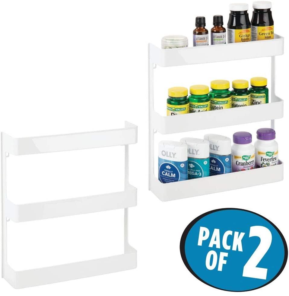 Plastic Wall Mount, 3-Tier Storage Organiser Shelf By mDesign