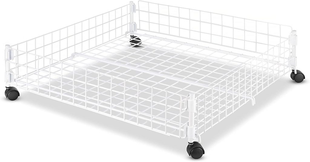 Rolling White Wire Under Bed Cart by Whitmor