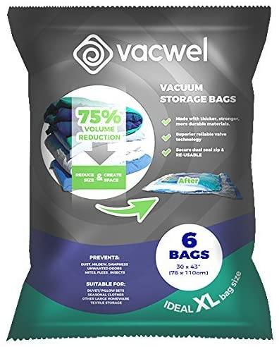 Vacwel Pack of 6 Extra Strong Jumbo Vacuum Storage Bags