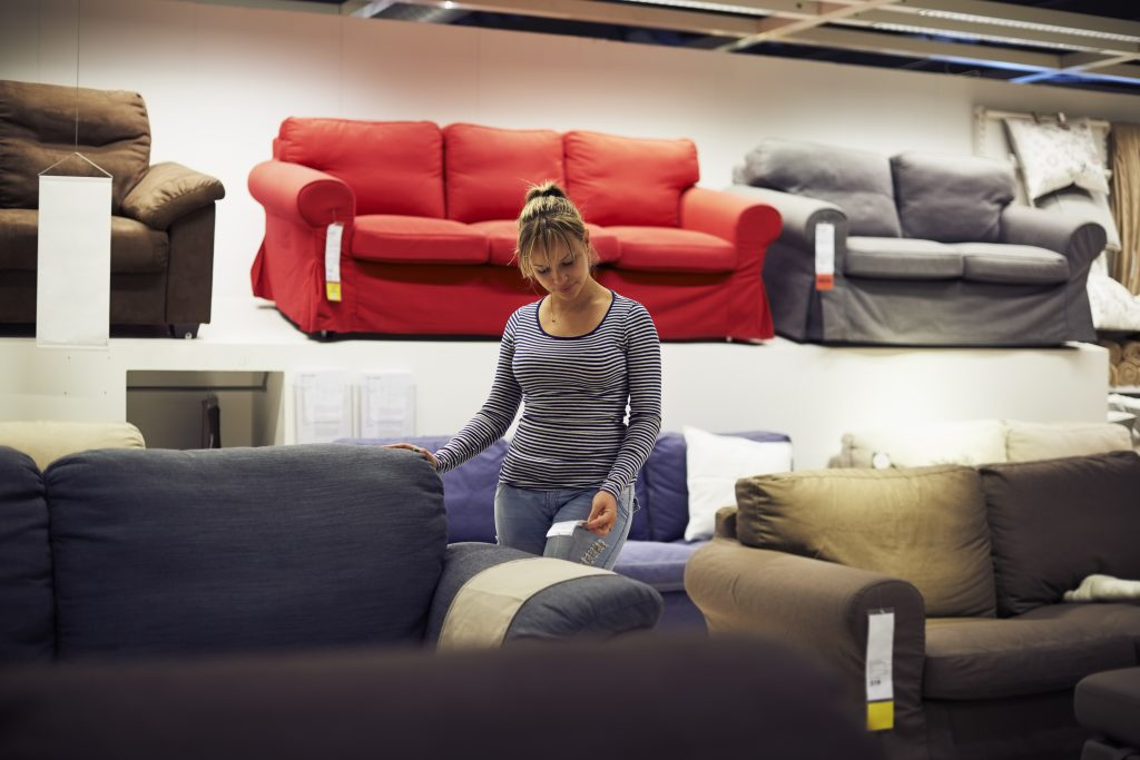 woman shopping for furniture and home decor