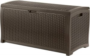 Suncast 99 Gallon Resin Wicker Patio Outdoor Storage Container for Toys
