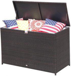 Patiorama Outdoor Wicker Storage Box Patio Aluminum Frame Espresso Brown Wicker Cushion Storage Bin Deck Box