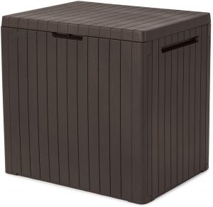 Keter City 30 Gallon Resin Deck Box for Patio Furniture