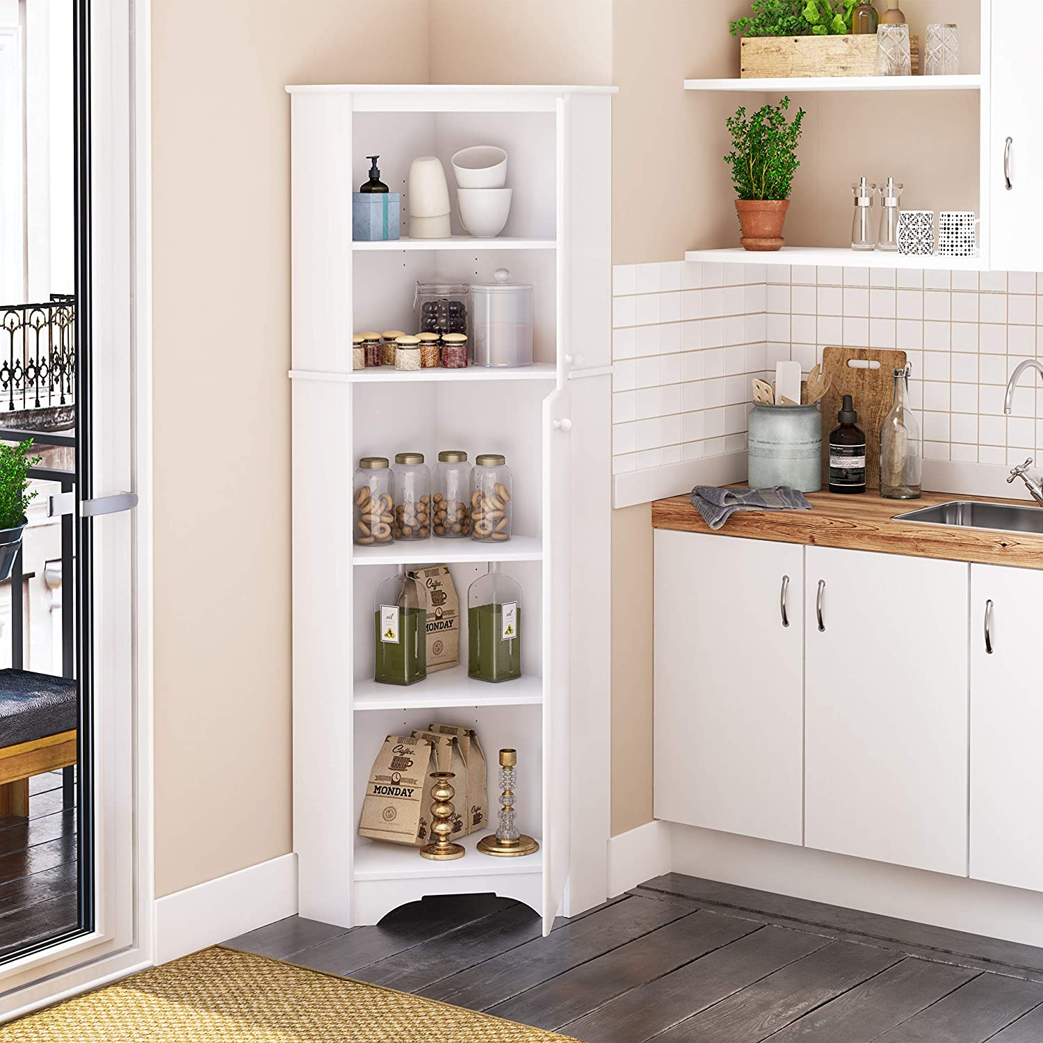 15 Best Corner Pantry Cabinets You Can, Corner Cabinet With Doors And Shelves